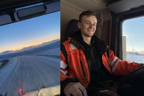 FORNØYD: Sander Hartviksen Nylund er blant dem som er storfornøyd med snøens ankomst. Som nybakt brøytebilsjåfør er det knall å få mye å gjøre allerede i oktober, mener 18-åringen.