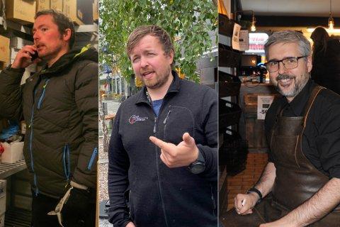 I TRØBBEL: Sandøy, Uglebakken og Svendsen har ingen kjede i ryggen og sliter stort nå som kundegrunnlagene er borte over natta igjen, og denne gangen i deres beste omsetningsmåneder.