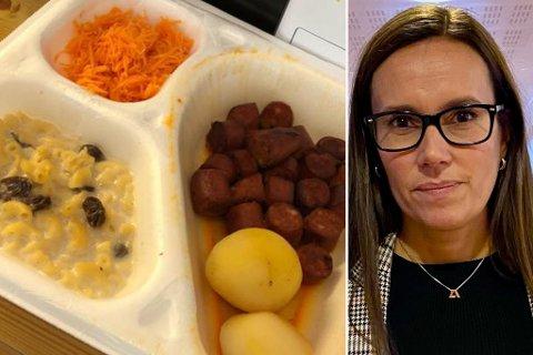 VARSLER GJENNOMGANG: Denne maten ble servert i helga. Slik skal det ikke være, mener Marianne Sivertsen Næss.