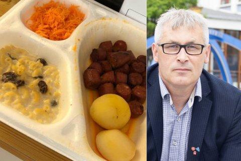 VAKTE REAKSJONER: Stig Gunnar Lyngmos bestemor fikk dette servert. Bildet ble lagt ut på sosiale medier og mange er enige med han i at maten ikke er bra nok.  Nå vil Terje Wikstrøm redde kjøkkenet.