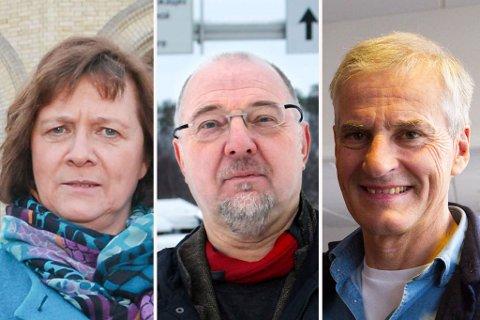 «MAGEPLASK»: Kristina Hansen, Rune Rafaelsen og Jonas Gahr Støre var ikke imponert over regjeringen torsdag.