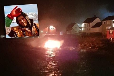 ENDTE I FJÆRA: Den brennende båtens ferd endte i fjæra, like nedenfor en rekke bolighus. Kiril Svendsen (27) hylles nå som en helt for hans innsats i natt.