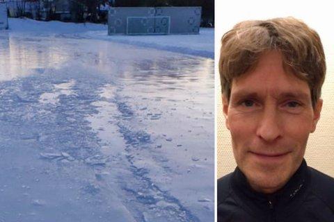 ØDELAGT: Her er noen av skadene på skøytebanen i Bossekop – skader som ser ut til å ha blitt laget med en UTV.