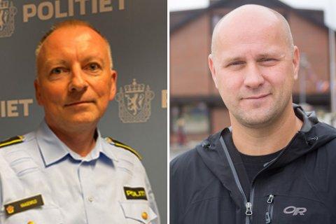 TA HENSYN: Politi og brann oppfordrer til å ta hensyn, og tenke seg om under nyttårsfeiringen. Her er bilde av Leder ved politiets operasjonssentral Jørn Haagenrud og Stian Labahå fra 110-sentralen.