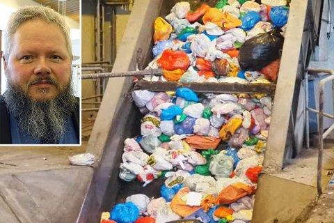 FYLLES OPP: Avfallet tas hånd om etter at du putter det i søppelboksen. Men mange har mer avfall hjemme enn de får inn i boksen. Illustrasjon.