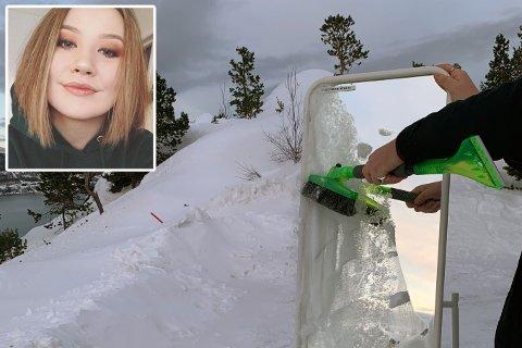 «FOR DÅRLIG»: – Vi prøvde å ta speilet med oss, men fikk ikke plass i bilen, sier Helena Hansen. Montasje.