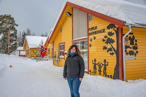 STYRER: Nina Kristensen er barnehagestyrer i Furua barnehage. Dette bildet er tatt tidligere i vinter.