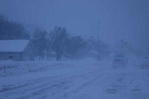 Slik så det ut i Rypefjord, Hammerfest rundt klokka 15.30 mandag.
