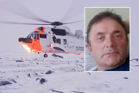 RIKTIG UTSTYR: Arvid Næss fra Karasjok har lært at man må ha seg riktig utstyr når man ferdes i fjellet. Sist fredag ble han til slutt berget av Sea King-helikopter med brudd i den ene foten.