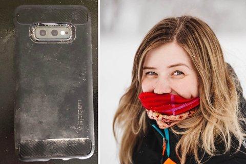 MOBILFUNN: Ane Kristine Øines Pedersen ii Mehamn  fant en mobiltelefon som en tysk turist hadde mistet under en snøscootertur i januar.