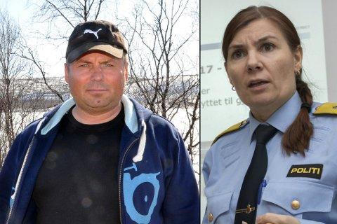 KRITISERER POLITIMESTEREN: Mikkel Isak Eira mener politimester Ellen Katrine Hætta (til høyre) blander slekt og jobb når hun beordrer Reinpolitiet til å kontrollere i konflikten mellom reinbeitedistrikt 35 og 42. I sistnevnte distrikt har politimesteren selv slekt.