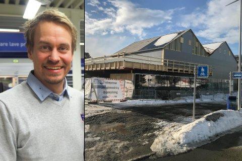 UNDER BYGGING: Nybygget som skal huse kjøpmann Tom André Johannes nye Rema 1000-butikk på Elvebakken i Alta.