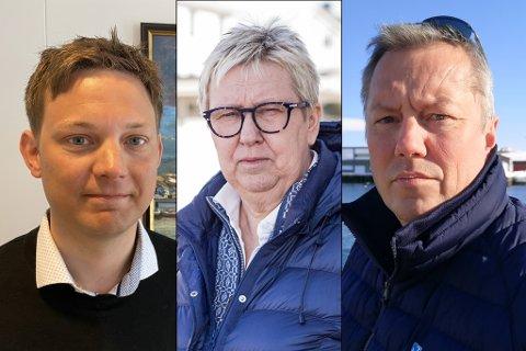 REAGERER: Sigurd Rafaelsen, Wenche Pedersen og Ronald Wærnes er blant flere Finnmark-ordførere som er bekymret for næringsliv og reiseliv i Finnmark etter at Widerøe nå vil kutte mer i tilbudet.