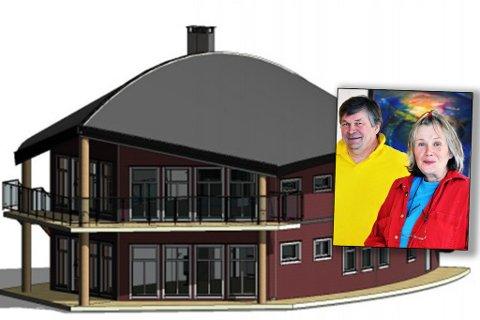 SPESIELT: Slik ser Knut og Eva Arnesen (innfelt) for seg bygget i Lotre.