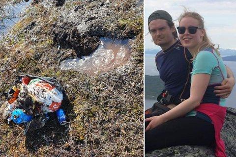 UVANLIG SYN: Ida Christin Hermansen (23) og Theodor Tjernshaugen (24) gjorde oppsiktsvekkende funn i myra.
