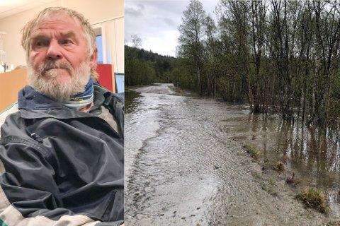FLOM: Tor Reidar Boland har vært damvokter siden 1970 og har aldri sett så mye vann i Gagga-området som nå.