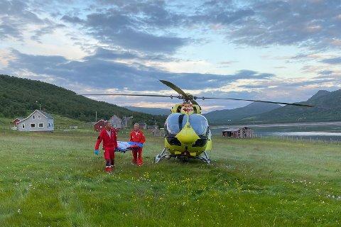 FØRSTE OPPDRAG: Ambulansehelikopteret hentet pasient onsdag kveld.