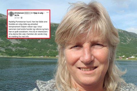 ANTE URÅD: Kariann A. Henriksen fra Alta ble gjort oppmerksom på en annonse på Facebook. Etter litt undersøkelser fant hun raskt ut at dette dreide seg om svindelforsøk.