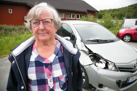 ØDELAGT: Wenche Gaska fikk tapet skadene, før hun kjørte til Sør-Varanger og verkstedet med bilen.