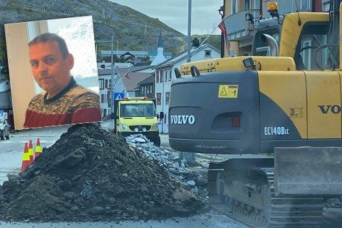 MYE PÅ EN GANG: De ansatte i Lebesby kommune har hatt hendene fulle onsdag morgen forteller avdelingsleder anleggsdrift Frank Pettersen (innfelt).