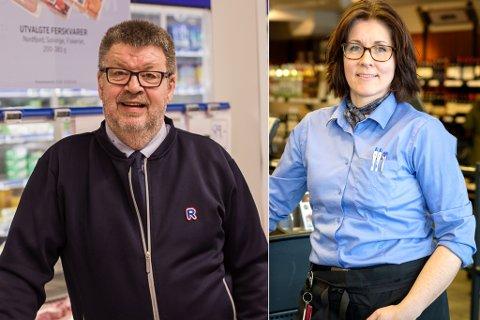 FORNØYDE: Kjøpmann på Rema 1000 Vardø, Vidar Gusdal og Hege Methi, butikksjef Vinmonopolet er fornøyd etter nyåpnig og samlokalisering.