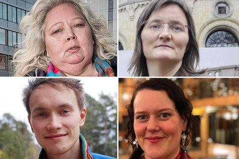 UENIGE OM DET MESTE: Vibeke Larsen, Torill Bakken Kåven, Runar Myrnes Balto og Silje Muotka er dypt uenige om hvordan ting foregår på sametinget.