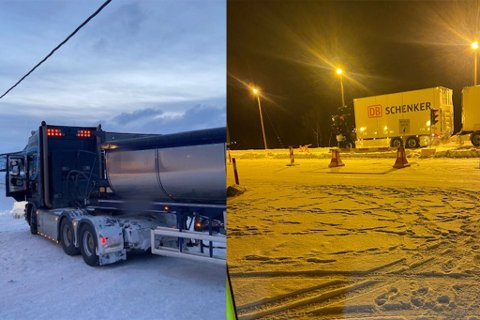 Bilen til venstre ble stoppet i Smalfjord. Den manglet kjetting, men fikk kjøre og hente dem, ettersom forholdene tillot det. Vogntoget til høyre ble stoppet i Utsjok, hvor det fikk kjøre videre uten noen mangler.