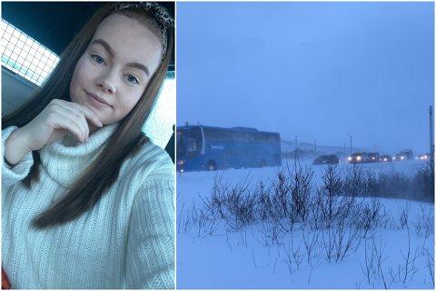 UVÆR: Siren Strandheim Eriksen var blant dem som ble stoppet av snø og vind.