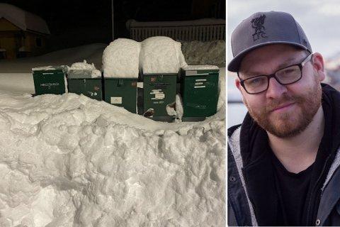 STORE MENGDER: Det har kommet godt med snø på svært kort tid i Vadsø. Det har medført en del ekstra trening for mange som nå må ut og rydde.