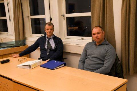 I RETTEN: Advokat og bostyrer Håkon Helsvig (til venstre) og styreleder Børge Dyrstad Larsen i Nordic offshore elektro AS.