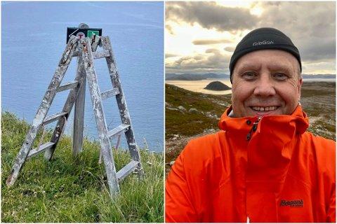 TRINN FOR TRINN: Pål Blix-Johansen satte i gang et prosjekt med den gamle stigen Stig: – Stig er en hyggelig fyr. En gammel type, en blanding mellom gardintrapp og stige, beskriver Blix Jacobsen.