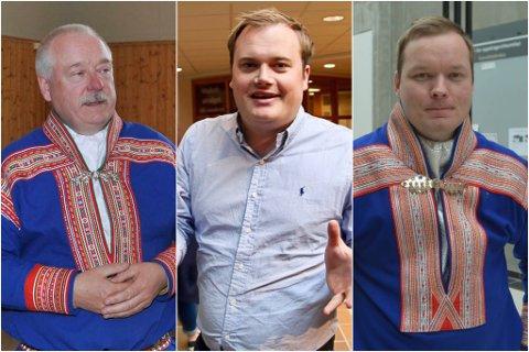 MYE SOM STÅR PÅ SPILL: Kautokeino-ordfører Hans Isak Olsen (t.v.), valgforsker Jonas Stein og tidligere Kautokeino-ordfører Johan Vasara, ser på hva som kan skje for Kautokeinos del om Alta forlater Finnmark til fordel for Troms.