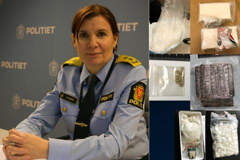 BESLAG: Dette er noen av beslagene gjort i Finnmark i 2020.  Snakk med barn helt nede i barneskolealder om narkotika, sier politimester Ellen Katrine Hætta.