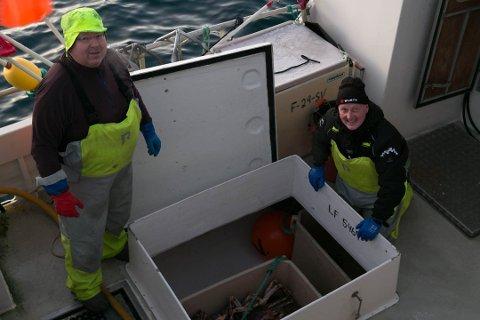 KRABBE: Erling Haugan (til venstre) og Torleif Weigama leverer dagens fangst med kongekrabbe, litt over hundre kilo. De er kritiske til opprettelse av oppdrett ved Kasterholmen i Bugøyfjorden.
