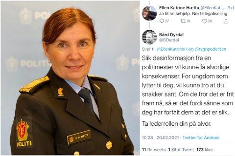 FÅR KRITIKK: Flere reagerte på Twitter på ordbruken til politimester Ellen Katrine Hætta.