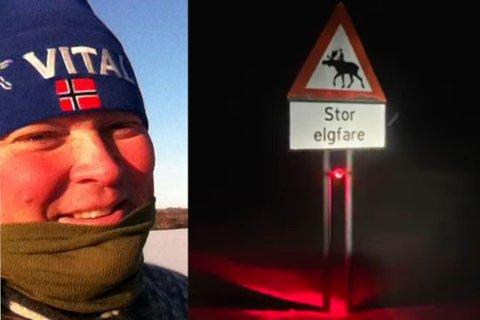RØDT LYS: I området mellom Grasbakken og Karlebotn er det satt opp fareskilt med rødt blinkende lys. Tommy Dikkanen gjør bilister oppmerksom mot fare for elg.