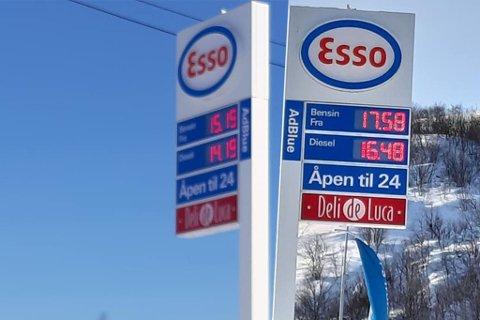 FEIL PRIS: Informasjonstavlene viste ulik pris på drivstoff. Kolasj.