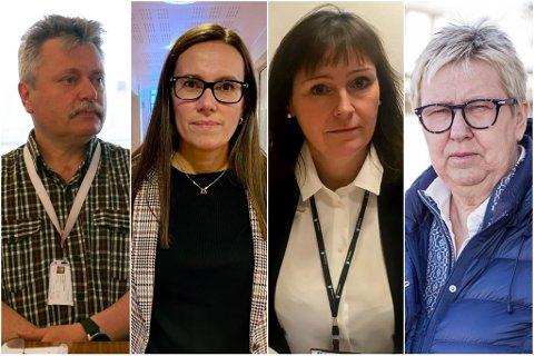 BEKYMRET: Ordførerne (f.v.) Pål Gabrielsen, Marianne Sivertsen Næss, Monica Nielsen og Wenche Pedersen regner med at det kan komme flere reisende i forbindelse med påsken.