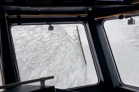 SJØSRPØYT: Slik så det ut da RS «Halfdan Grieg» tok den siste «sjarmøretappen» fra Båtsfjord og til Vardø.