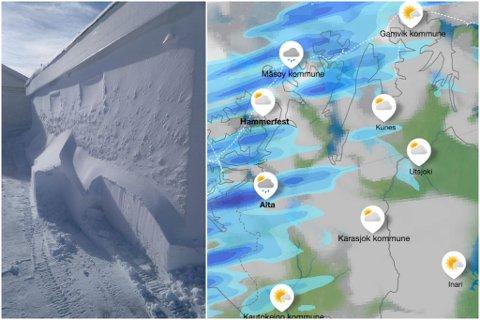 BLÅST FAST: Snøen blåste seg fast til garasjeveggen til Ragnhild Sørensen i Båtsfjord i helgen.
