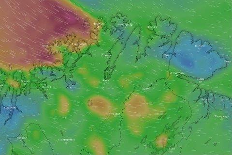 VIND: Vinden kommer vestfra og vil treffe Finnmark fra og med onsdag.