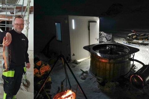 LITT AV EN BYTTEHANDEL: Morten «byttet» til seg det gamle fryserommet til Turistua, og nå kan han fiske direkte fra stampen og få ly i det ombygde rommet.