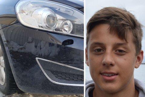 HULL OG RIPER: Bilen fikk skader etter et krasj, ifølge Emil Bakke.