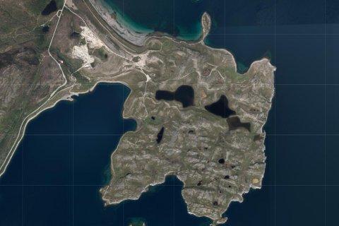 OPPDRETT: Her, på Veines på vestsiden av Porsangerfjorden, vil oppdrettsselskapet etablere seg. Satelittfoto fra 1881.no.