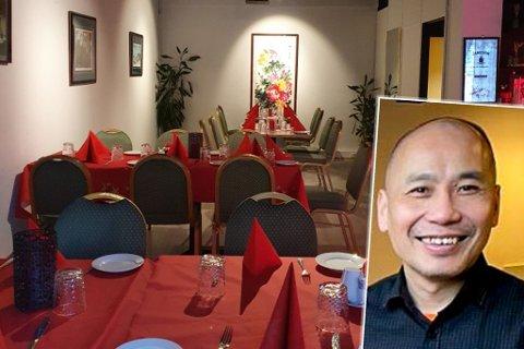 INGEN SYMPTOMER: – Det er god avstand mellom bordene, sier Sai Wah Liu. Nå må han som alle andre i byen, stenge dørene – og heller kundene tilby Take Away.