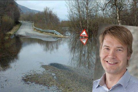 FLOMFARE: Nå kan det bli stor vannføring i elver og bekker, ifølge Tuomo Saloranta. Her er Lakselva flommet over i år 2010. Illustrasjon.