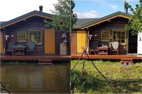 SNAKK OM FORSKJELL: Fra søndag (til venstre) til mandag gikk det fra å være nærmest et vann foran hytta, til grønt og fint igjen.