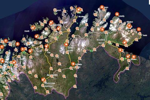 OVERSIKT: En rekke eiendommer i Finnmark skiftet eier denne uka i juni.