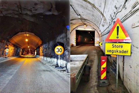 PROBLEMTUNNEL: Nedsatt hastighet og fareskilt varsler nå trafikanter om de dårlige forholdene i Skarvbergtunnelen.