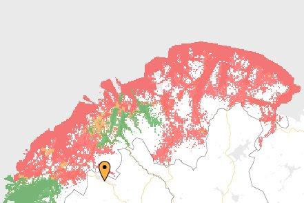 FALT UT: De røde områdene på kartet viser hvor 4G-dekningen har falt ut for Telia.